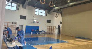 מתחם בדיקות באולם הספורט רמון